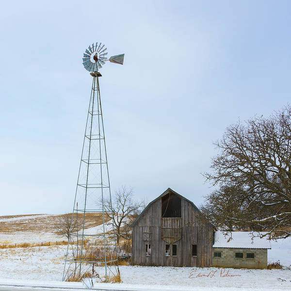 Photograph - Barn And Windmill by Edward Peterson