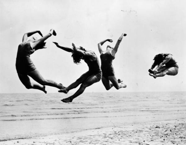 Jumping Photograph - Beach Exercise by Reg Speller