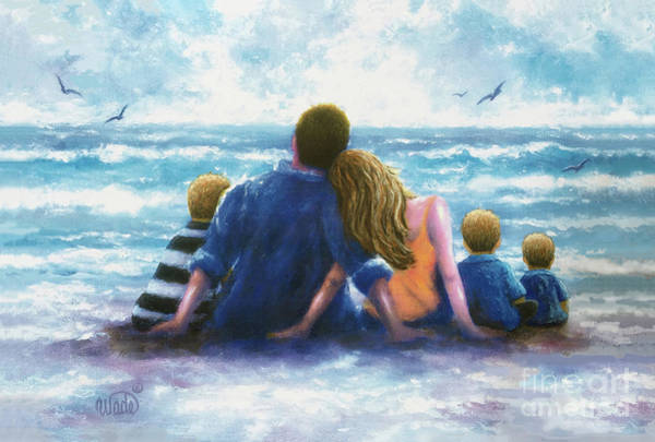Wall Art - Painting - Beach Family Three Sons by Vickie Wade