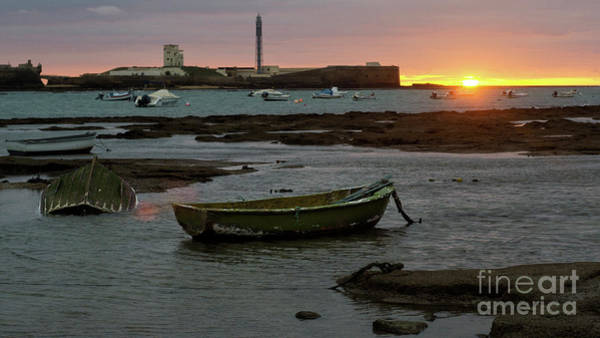 Photograph - Beached Boats At Sunset Cadiz Spain by Pablo Avanzini