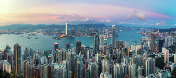 Kowloon Photograph - Beautiful Sunset Sky Over City Skyline by D3sign