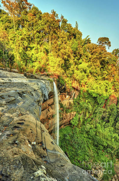 Wall Art - Photograph - Beautiful Waterfall Flowing From The Cliff In The Tropical Jungles Panoramic Top View by MotHaiBaPhoto Prints
