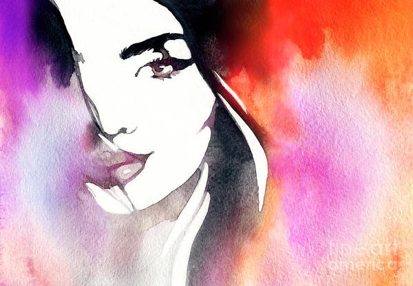 Wall Art - Digital Art - Beautiful Woman Face. Abstract Fashion by Anna Ismagilova
