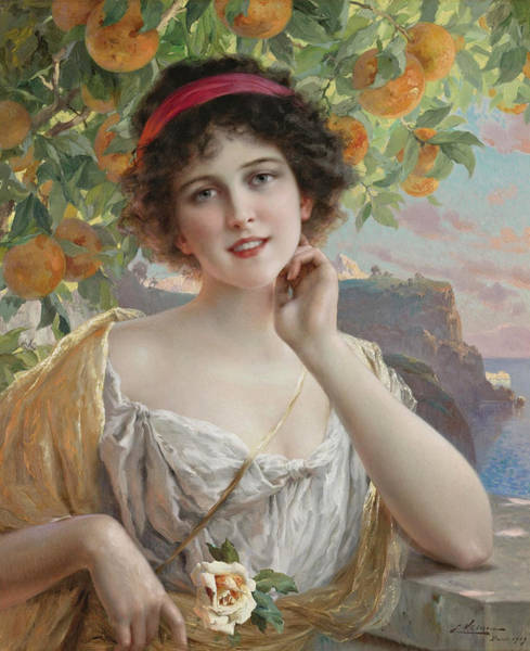 Wall Art - Painting - Beauty Under The Orange Tree by Emile Vernon