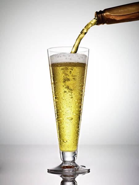 Lager Photograph - Beer On White Background by Bill Diodato