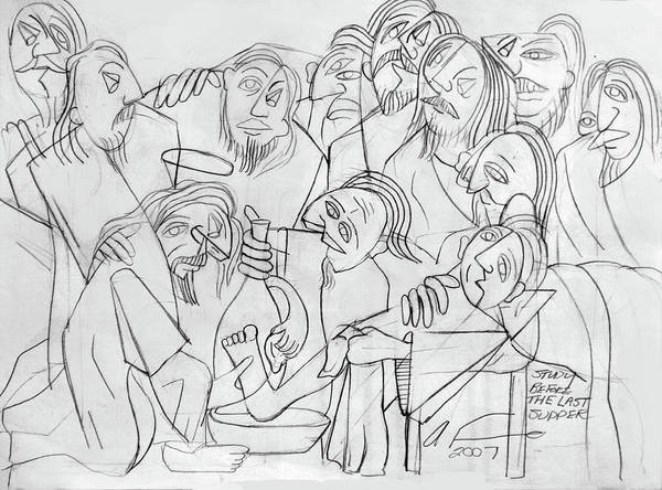Wall Art - Drawing - Before The Last Supper by Anthony Falbo