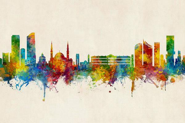 Wall Art - Digital Art - Beirut Lebanon Skyline by Michael Tompsett