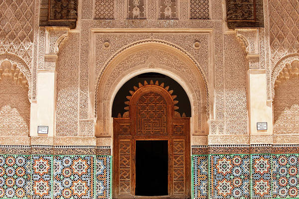 Stucco Wall Art - Photograph - Ben Youssef Medersa by Kelly Cheng Travel Photography
