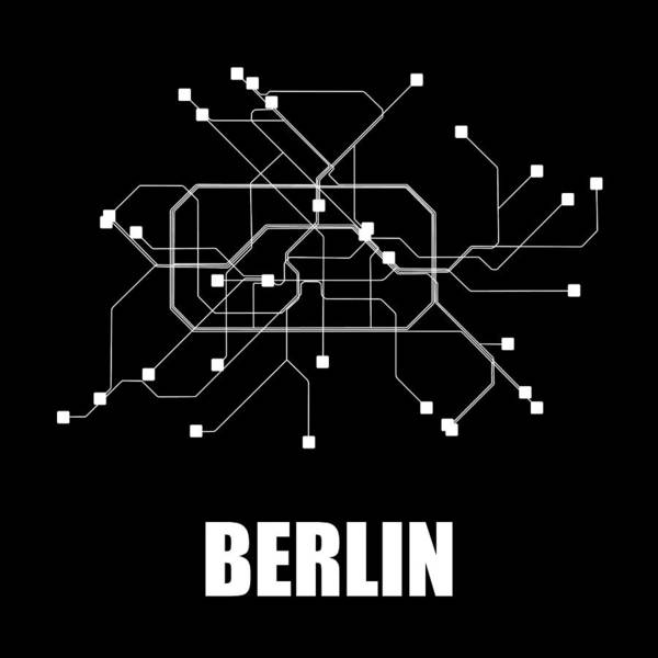 Wall Art - Digital Art - Berlin Black Subway Map by Naxart Studio