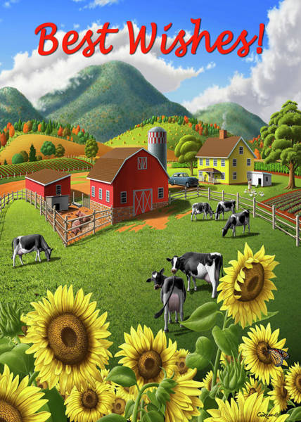 Wall Art - Digital Art - Best Wishes Greeting Card - Sunflowers Cows Rural Farm Landscape by Walt Curlee
