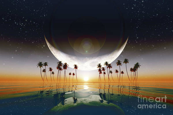Wall Art - Photograph - Big Moon Over Yellow Sunset by Aleksey Tugolukov