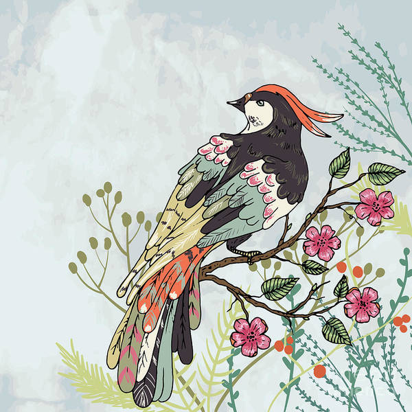 Wall Art - Digital Art - Bird On A Branch Vector Illustration by Maria Sem