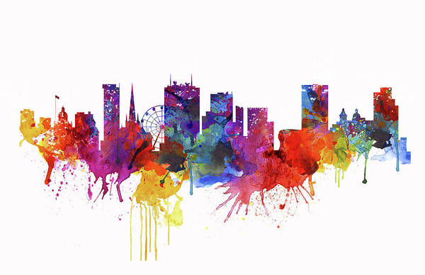 Wall Art - Painting - Birmingham Watercolor Skyline by Marian Voicu