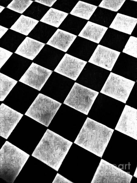 Painting - Black And White Floor Tile by Odon Czintos