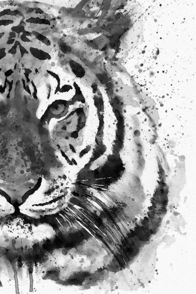 Wall Art - Painting - Black And White Half Faced Tiger by Marian Voicu