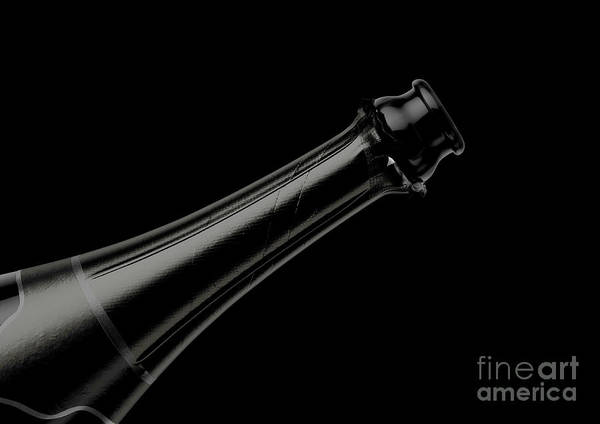 Wall Art - Digital Art - Black Champagne Bottle Open Neck by Allan Swart