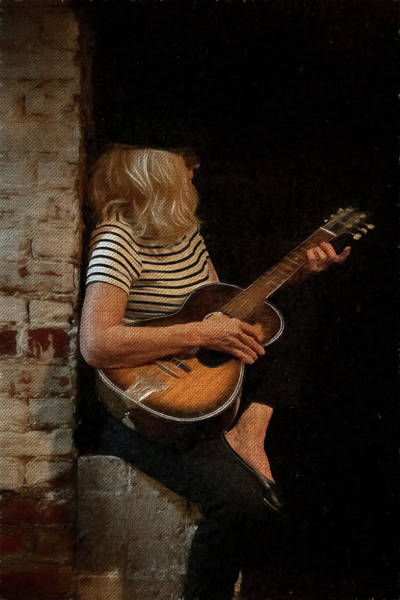 Photograph - Blondie Woman Playing Guitar Sitting On A Brick Wall by Dan Friend