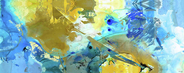 Wall Art - Painting - Blue And Yellow Abstract Art - Moving Up - Sharon Cummings by Sharon Cummings