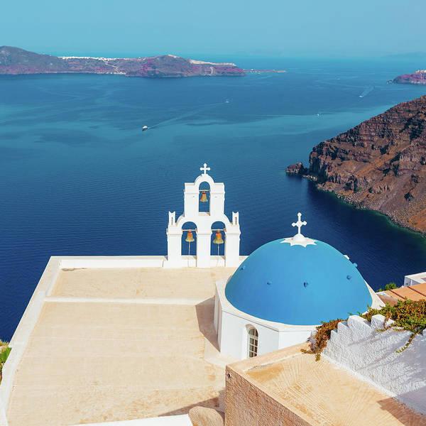 Photograph - Blue Domed Church In Oia, Santorini by Deimagine