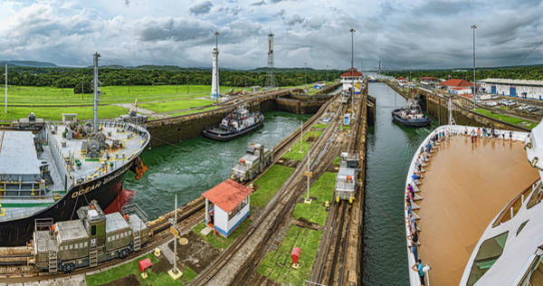 Wall Art - Photograph - Boats In A Canal, Panama Canal Locks by Panoramic Images