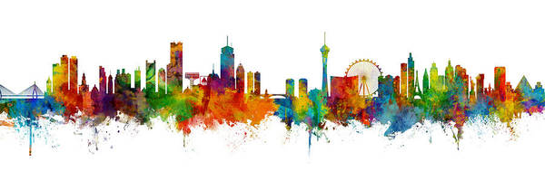 Wall Art - Digital Art - Boston And Las Vegas Skylines Mashup by Michael Tompsett