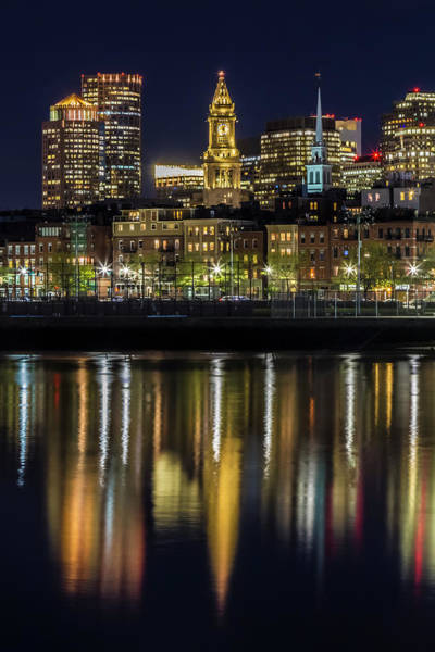 Boston North End Wall Art - Photograph - Boston Evening Skyline Of North End And Financial District by Melanie Viola