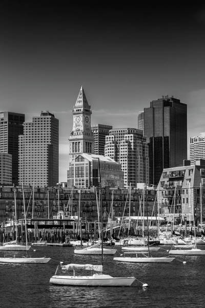 Wall Art - Photograph - Boston Skyline North End And Financial District - Monochrome by Melanie Viola