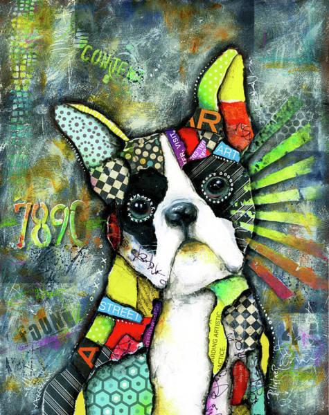 Wall Art - Mixed Media - Boston Terrier by Patricia Lintner