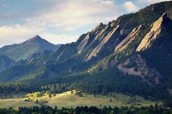 Cloudscape Photograph - Boulder Colorado Flatirons In Fall by Beklaus