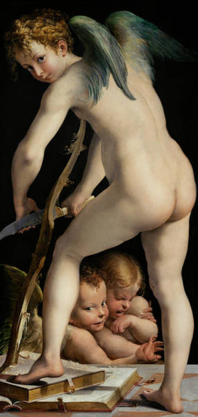 Carving Painting - Bow-carving Amor by Parmigianino