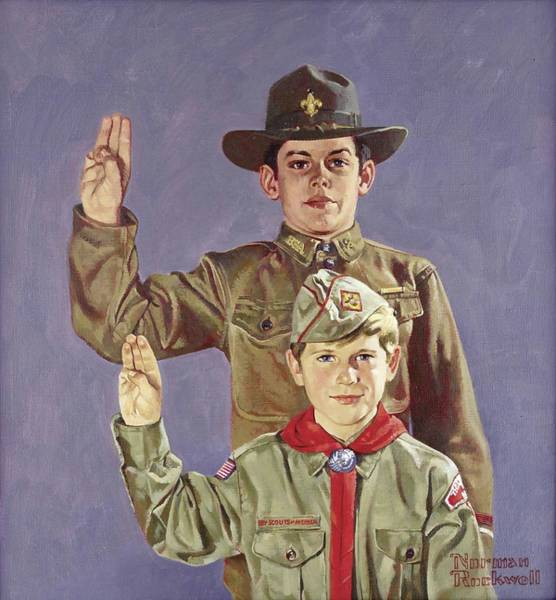 Wall Art - Painting - Boy Scouts Pledging        by Norman Rockwell