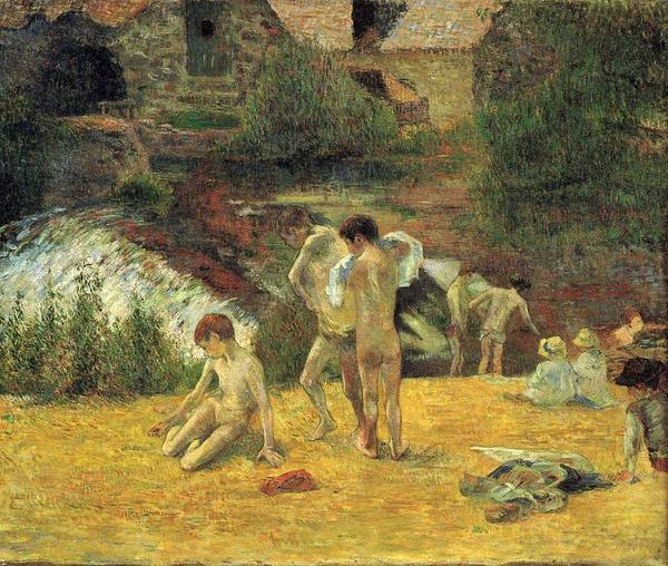Wall Art - Painting - Breton Boys Bathing   by Paul Gauguin