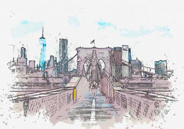 Wall Art - Painting - Bridge To Manhattan, Usa C2019, Watercolor By Adam Asar by Celestial Images