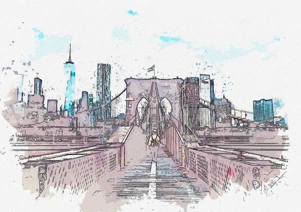 Wall Art - Painting - Bridge To Manhattan, Usa Watercolor By Ahmet Asar by Ahmet Asar