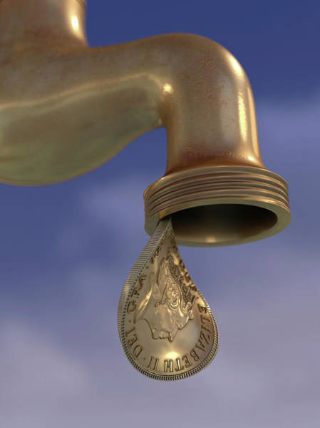 Wall Art - Photograph - British Gold Coin Dripping From Tap by Ikon Images
