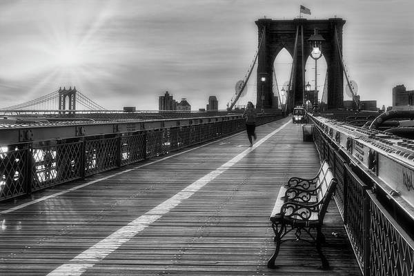 Photograph - Brooklyn And Manhattan Bridge Nyc Sunrise by Susan Candelario
