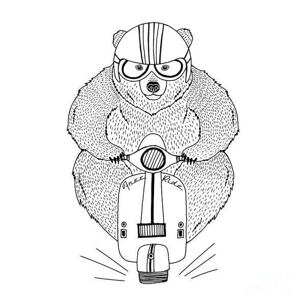 Wall Art - Digital Art - Brown Bear Driving Scooter, Decorative by Olga angelloz