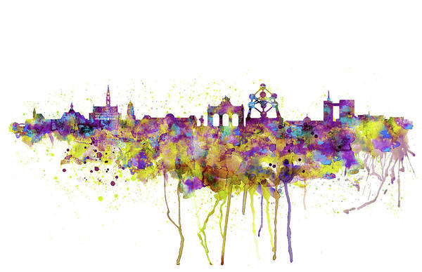 Wall Art - Painting - Brussels Skyline Silhouette by Marian Voicu