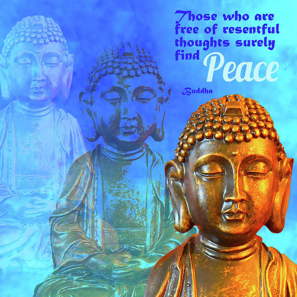 Letting Go Digital Art - Buddha's Thoughts Of Peace by Ginny Gaura