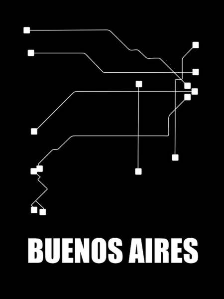 Wall Art - Digital Art - Buenos Aires Black Subway Map by Naxart Studio