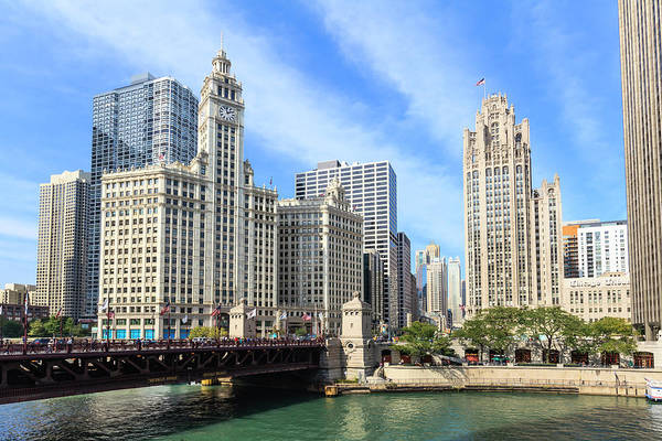 Chicago Tribune Wall Art - Photograph - Buildings By The Chicago River, Chicago by Fraser Hall