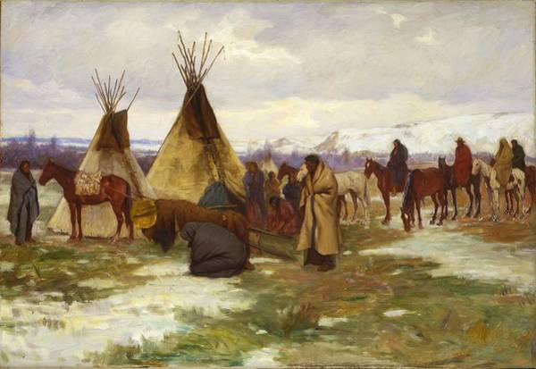 Wall Art - Painting - Burial Cortege Of A Crow Chief By Joseph Henry Sharp, Circa 1905. by Celestial Images