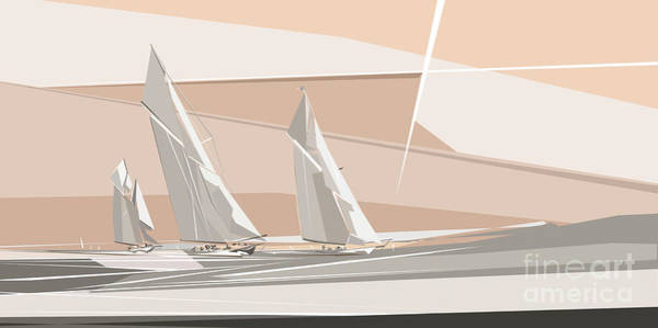 Digital Art - C-class Yachts  by Wendy Thompson