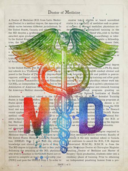 Wall Art - Digital Art - Caduceus Doctor Of Medicine Gift Idea With Caduceus Illustration by Aged Pixel