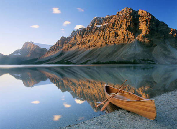 Wall Art - Photograph - Canoe At The Lakeside, Bow Lake by Panoramic Images