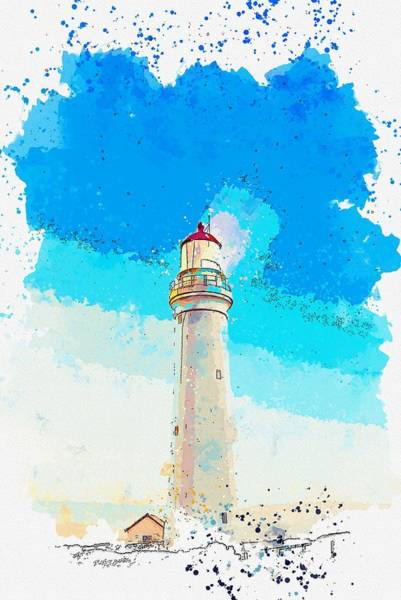 Wall Art - Painting - Cape Elizabeth Lighthouse, Cape Elizabeth, United States -  Watercolor By Adam Asar by Adam Asar