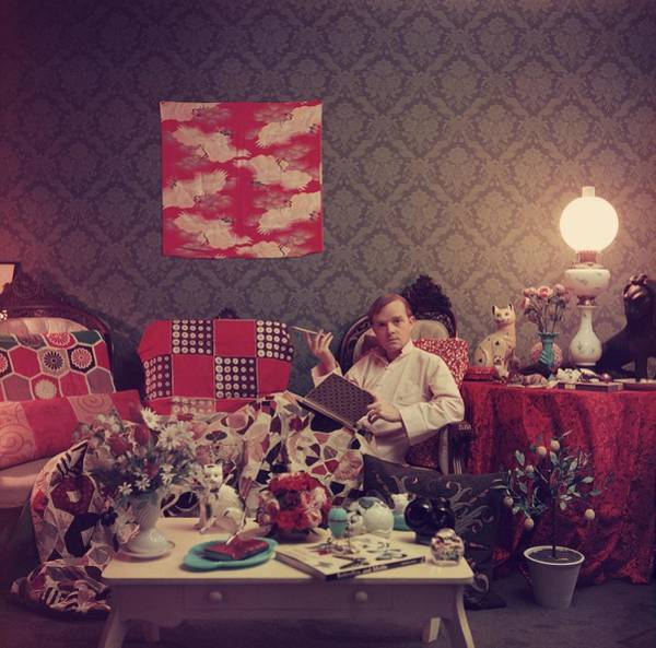 Square Photograph - Capote At Home by Slim Aarons