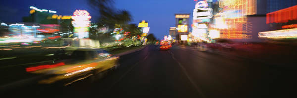 Wall Art - Photograph - Car On A Road At Night, Las Vegas by Panoramic Images