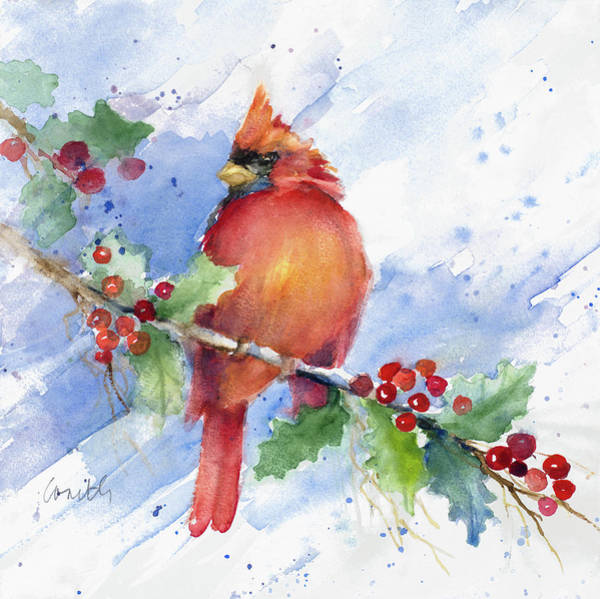 Wall Art - Painting - Cardinal On Holly Branch by Lanie Loreth