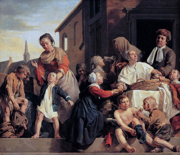 Painting - Caring For Children At The Orphanage In Haarlem - Three Acts Of Mercy by Jan de Bray